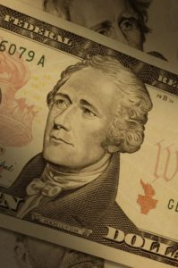 6176216 - close-up of a ten-dollar bill ($10), highlighting alexander hamilton.