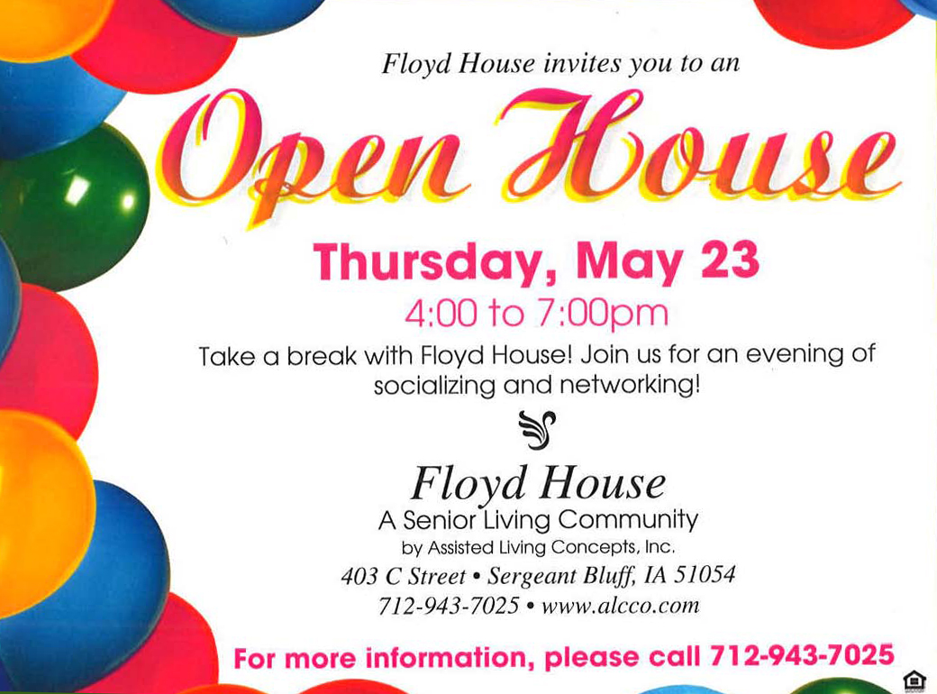 You are Invited to an Open House at Floyd House - Siouxland ...